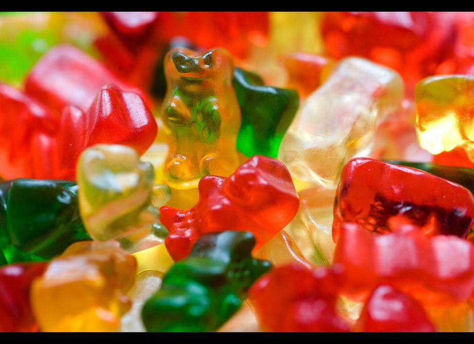 "Gelatin is used in gummy candies, according to the <a href=""http://www.gelatin-gmia.com/html/qanda.html"" target=""_hplink"">Gel"