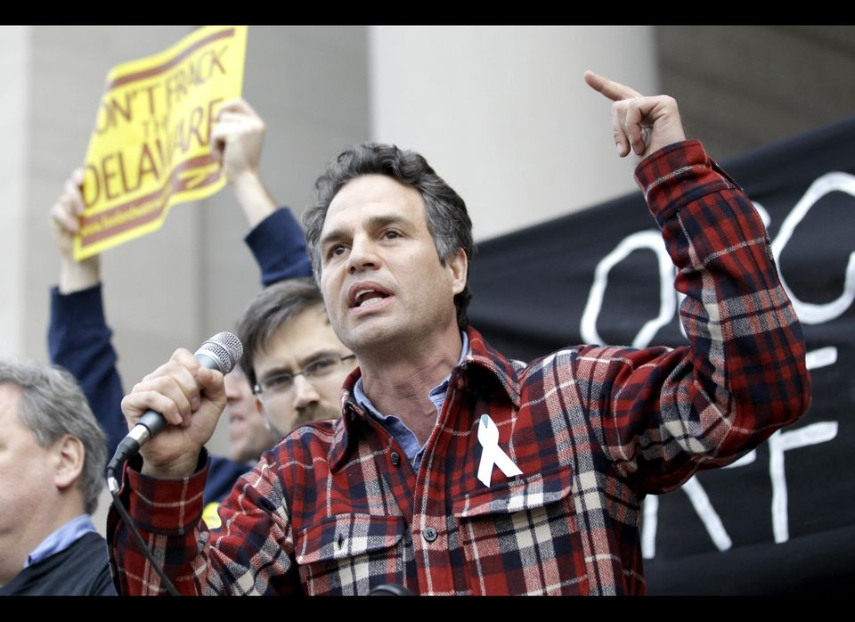 <em>From AP:</em> Actor Mark Ruffalo talks to a crowd gathered in Trenton, N.J., to voice their opposition against natural ga