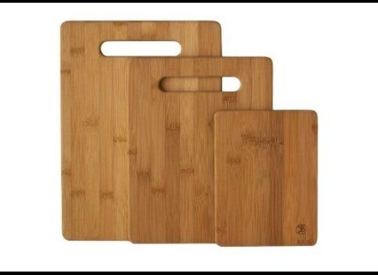 "This modestly-priced ($12.99) three-piece bamboo cutting board set is made from organically-grown <a href=""http://www.moso-ba"