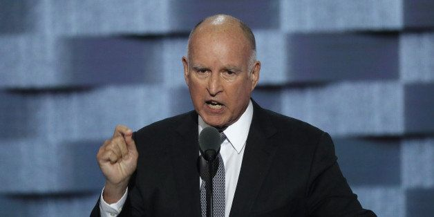 California Governor Jerry Brown speaks on the third day of the Democratic National Convention in Philadelphia, Pennsylvania,