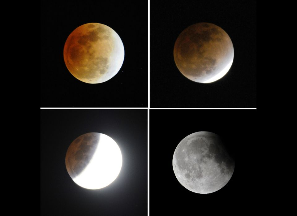 This combo show the four different moments of lunar eclipse in the sky in Beijing on December 10, 2011. People across China w
