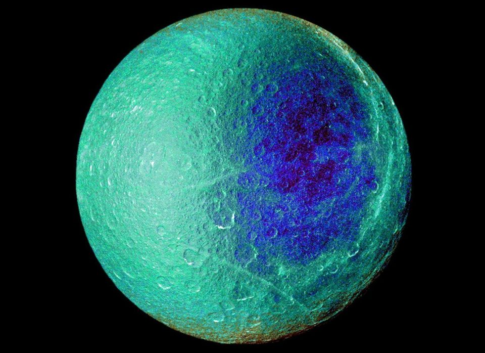 """Pictured here is a false color image from NASA of <a href=""""http://www.mnn.com/eco-glossary/saturn"""" target=""""_hplink"""">Saturn</a"""