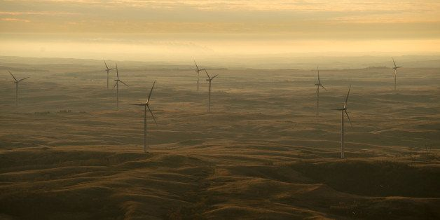 Wind turbines owned by PrairieWinds ND1 Inc., a subsidiary of Basin Electric Power Cooperative, seen at sunrise just south of