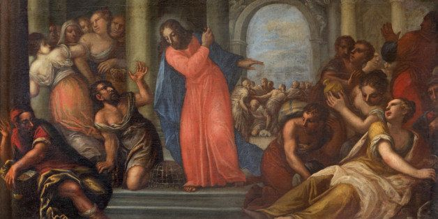 Padua - Paint of Jesus Cleanses the Temple scene in the church Chiesa di San Gaetano and the chapel of the Crucifixion by unk