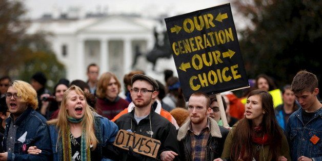 Students participate in the 'Our Generation, Our Choice' protest near the White House in Washington November 9, 2015. The Mon