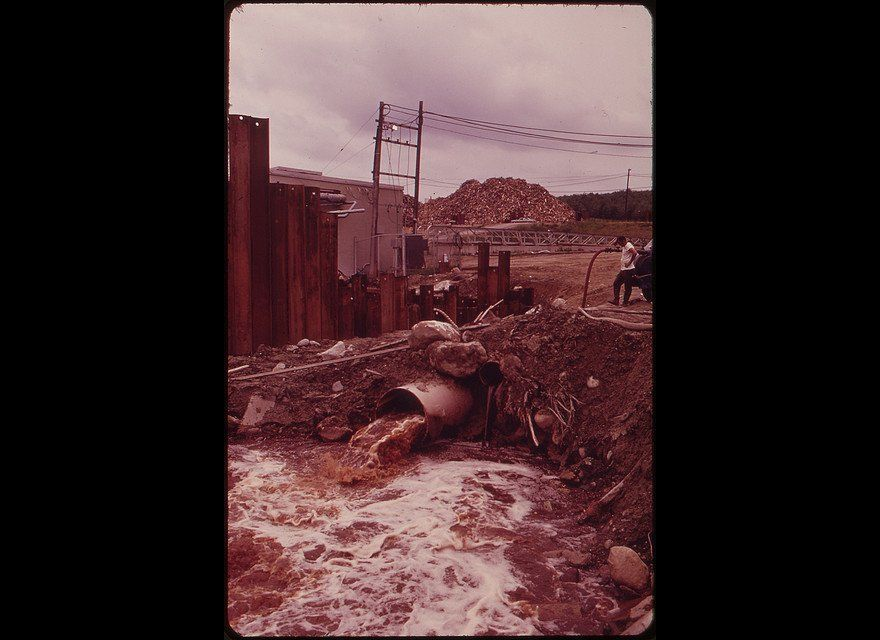 Polluted effluent gushes straight from the International Paper Company's Androscoggin Mill into a Maine brook back in 1973.