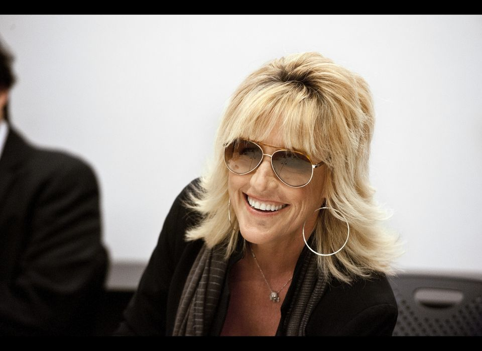 Erin Brockovich stops by the AOL Huffington Post headquarters in New York to speak to reporters April 27, 2012. (Damon Dahlen