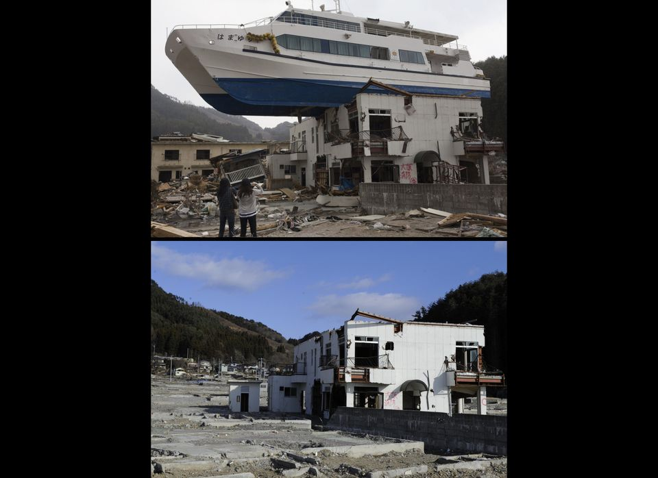 This combination of pictures shows a catamaran sightseeing boat washed by the tsunami onto a two-story tourist home in Otsuch