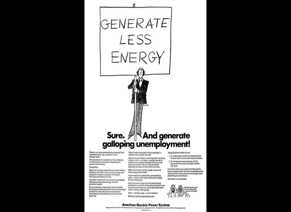 """""""Coal - reliable coal - is the solution"""" to the 1970s oil and gas shortage, claims this 1974 AEP advertisement. AEP argues th"""