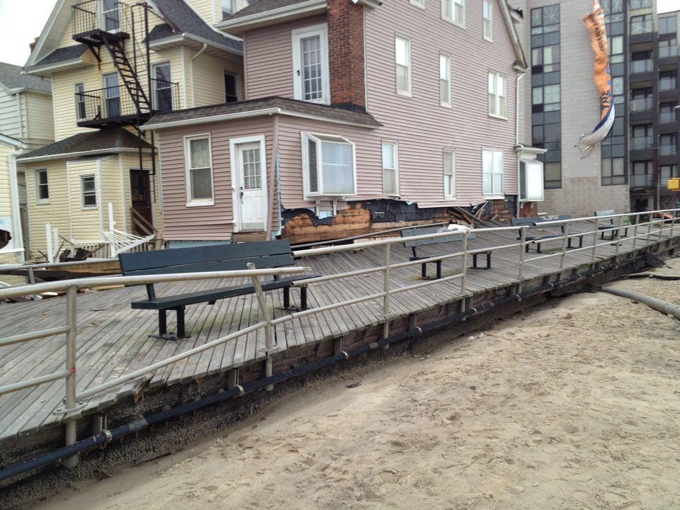 What remains of the Rockaway Beach boardwalk.