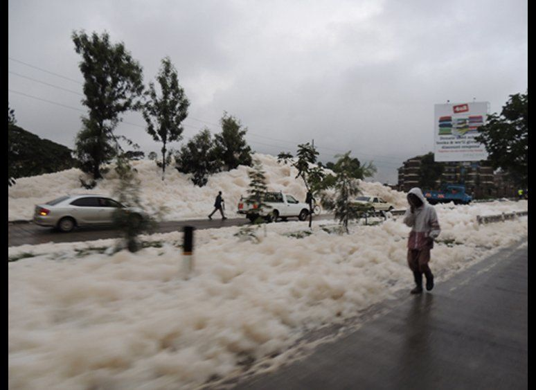 "Amazing images of the Nairobi ""suds tsunami."" Photos by M. Sanjayan."