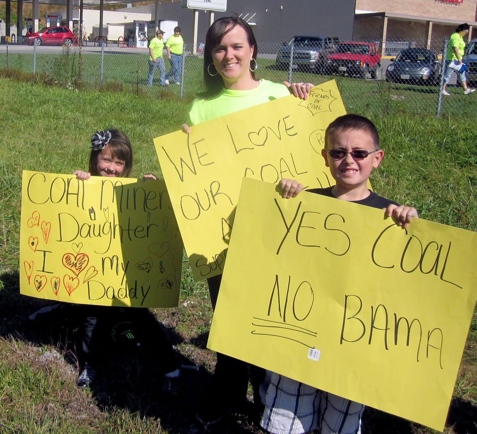 In a Saturday Oct. 13, 2012 photo, Amanda McCracken, of Big Stone Gap, stands with her children, Kaylee, 6, and Pryston, 8, a