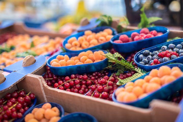 close up of market produce at a ...