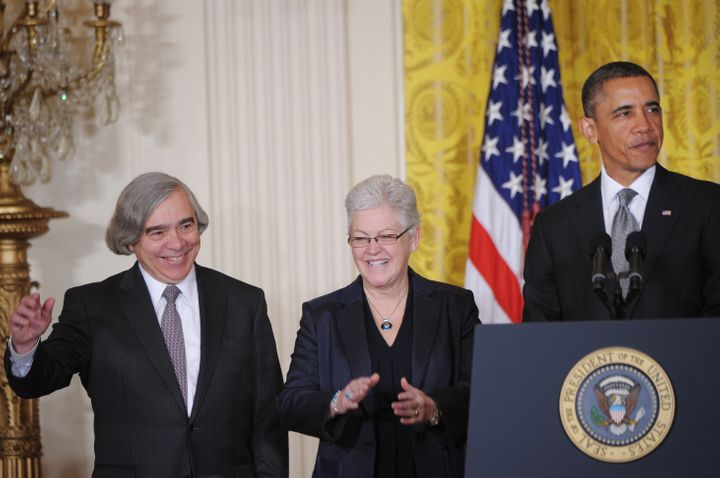 US President Barack Obama speaks alongside MIT scientist Ernest Moniz (L), his nominee to head the Energy Department and Gina