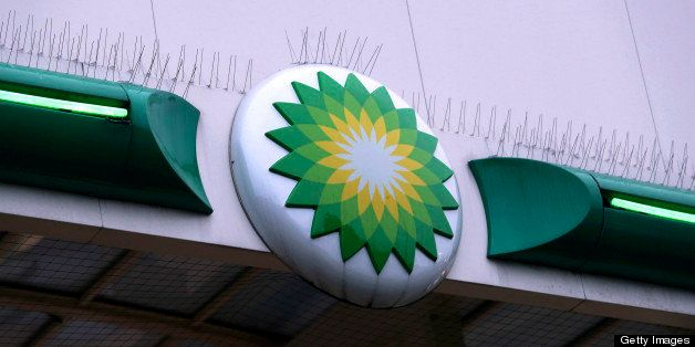 A logo sits on the side of a roof at a BP gas station, operated by BP Plc, in Upminster, U.K., on Thursday, Feb. 28, 2013. BP