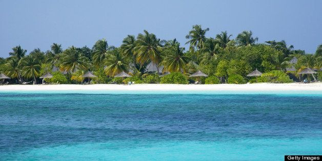 White coral sands, palm trees and thatched beach umbrellas across turquoise waters, Island of Kuredu, Maldives, Indian Ocean.