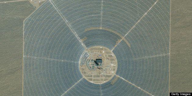 IVANPAH SOLAR POWER FACILITY, IVANPAH, SAN BERNADINO COUNTY, CALIFORNIA - AUGUST 15, 2012:  This is a satellite image of the
