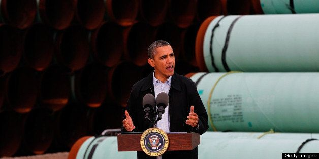 CUSHING, OK - MARCH 22: U.S. President Barack Obama speaks at the southern site of the Keystone XL pipeline on March 22, 2012