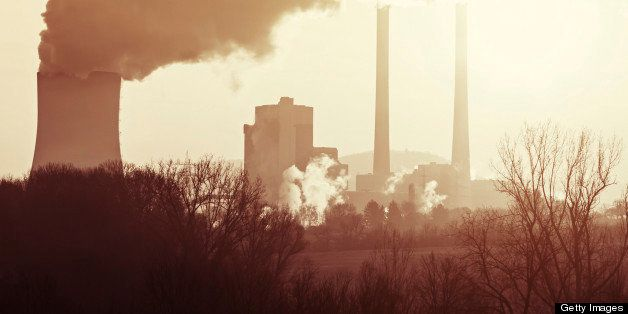 Air pollution of heavy industry. Toned image color.