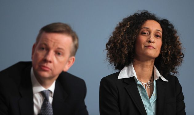 Katharine Birbalsingh with then-education secretary Michael Gove before her speech at the Conservative...