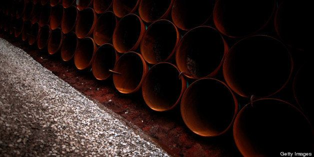 CUSHING, OK - MARCH 22: Pipe is stacked at the southern site of the Keystone XL pipeline on March 22, 2012 in Cushing, Oklaho