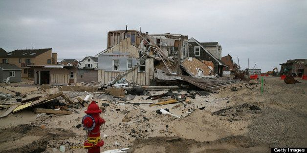 ORTLEY BEACH, NJ - MAY 05: Many homes remain damaged and mostly untouched since Superstorm Sandy hit the coastline, May 5, 2013 in Ortley Beach, New Jersey. Superstorm Sandy slammed into the New Jersey coastline six-months ago causing approximately $29.4 billion in damage. (Photo by Mark Wilson/Getty Images)