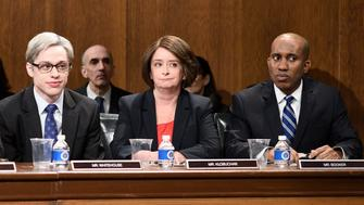 SATURDAY NIGHT LIVE -- 'Adam Driver' Episode 1747 -- Pictured: (l-r) Alex Moffat as Chairman Grassley, Cecily Strong as Sen. Dianne Feinstein, Pete Davidson as Sen. Whitehouse, Rachel Dratch as Sen. Amy Klobuchar, Chris Redd as Sen. Cory Booker during 'Kavanaugh Hearing Cold Open' in Studio 8H on Saturday, September 29, 2018 -- (Photo by: Will Heath/NBC/NBCU Photo Bank via Getty Images)
