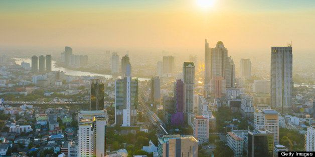 Panoramic view of urban landscape in Bangkok Thailand at high rise building