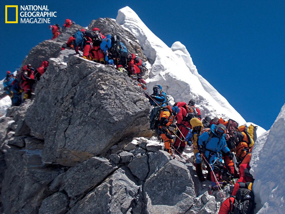 Traffic chokes the Hillary Step on May 19, 2012. Some climbers spent as long as two hours at this 40-foot rock wall below the