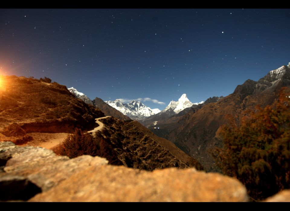 A long exposure of the Mount Everest range seen from Syangboche, a small Himalayan settlement some 140kms (87 miles) northeas