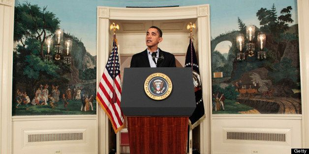U.S. President Barack Obama makes a statement in the Diplomatic Reception Room of the White House in Washington, D.C., U.S.,