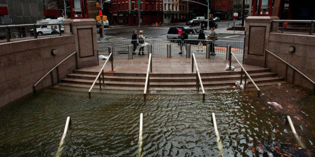 NEW YORK, NY - OCTOBER 30: Water floods the Plaza Shops in the wake of Hurricane Sandy, on October 30, 2012 in Manhattan, New