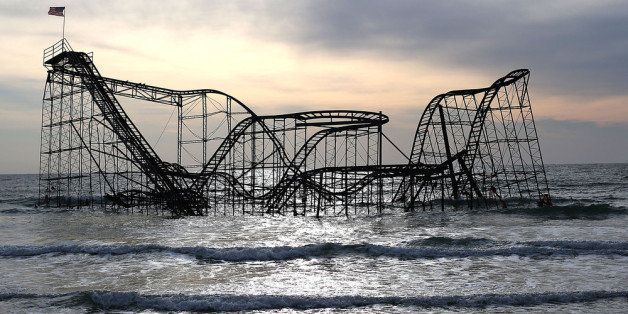 SEASIDE HEIGHTS, NJ - FEBRUARY 19: The Star Jet roller coaster remains in the water after the Casion Pier it sat on collapsed