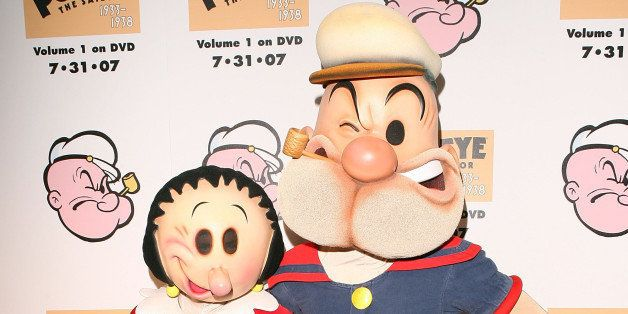 BEVERLY HILLS, CA - JULY 31:  Cartoon Characters Olive Oyl and Popeye at The Popeye Volume One DVD Release at The Paley Cente