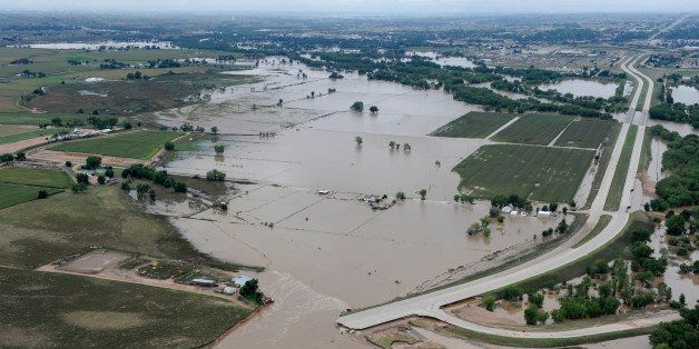 GREELEY, CO. - SEPTEMBER 16:  U.S.34 outside Greeley ripped apart by the South Platte River. Aerial photographs of the South