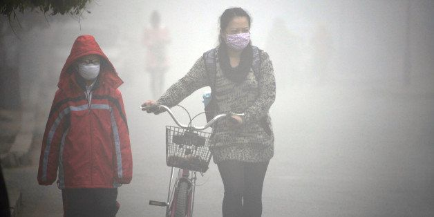 A woman walks with her child on a street as schools were closed due to the heavy smog in Jilin, northeast China's Jilin provi