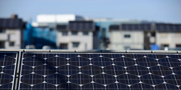 Solar panels, manufactured by Panasonic Corp., sit at Fujisawa Sustainable Smart Town (SST), also developed by Panasonic, in