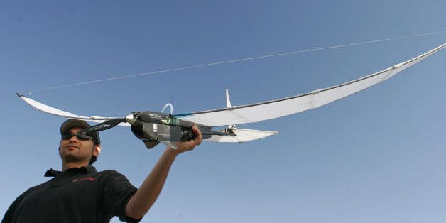 Redlands, UNITED STATES:  Octatron designer Victor Torres prepares to launch the SkySeer Drone Unmanned Arial Vehicle (UAV),