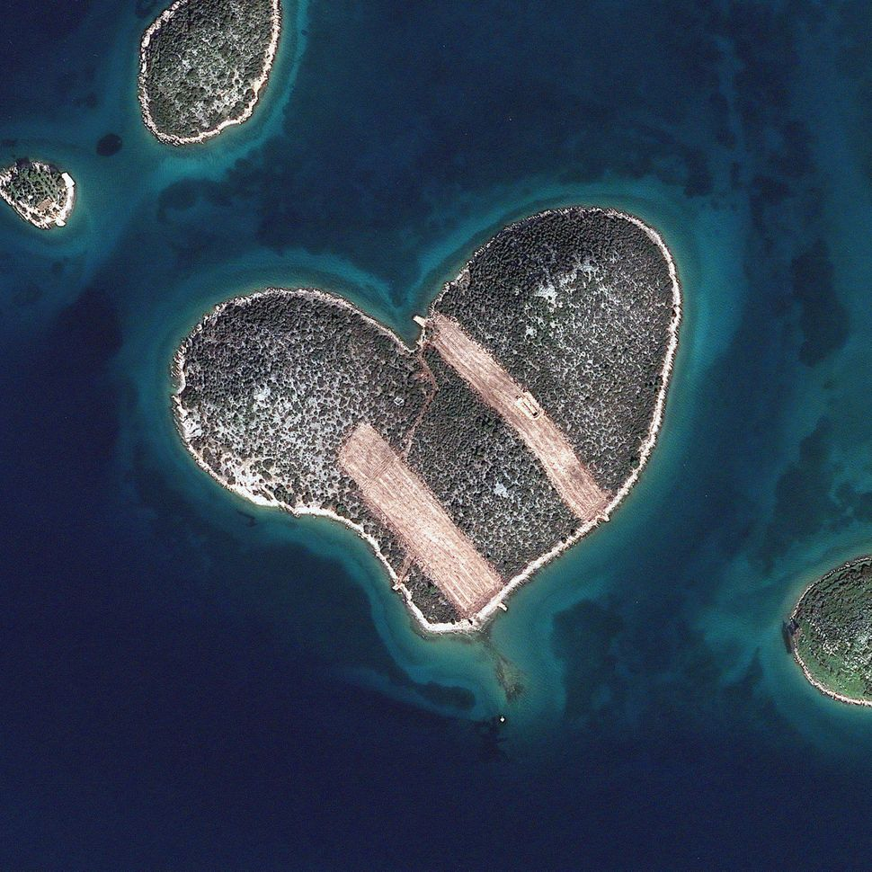 This is a satellite image of Heart Island, Galesnjak, Croatia, collected on Feb. 16, 2013. (Photo DigitalGlobe via Getty Imag