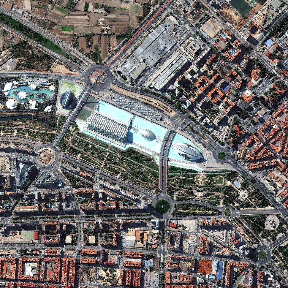 This is a satellite image of The Palau de les Artes Reina Sofia and Gulliver Park, Valencia, Spain, collected on July 19, 201