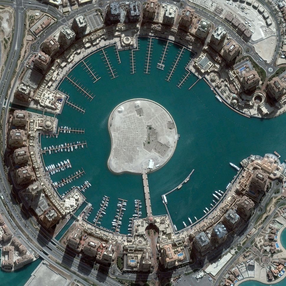 This is a satellite image of The Pearl, Doha, Qatar, collected on March 4, 2013. (Photo DigitalGlobe via Getty Images)