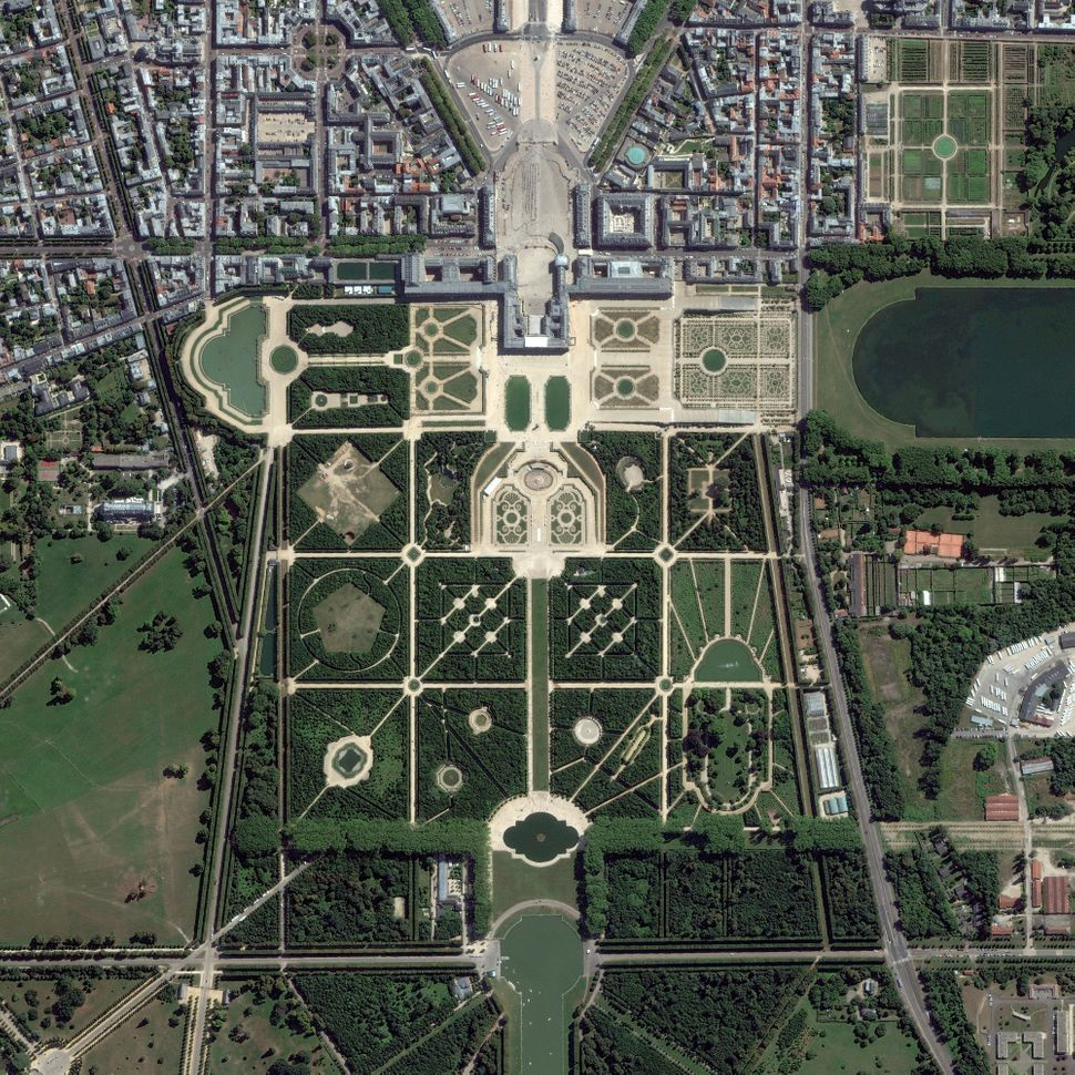 This is a satellite image of The Palace of Versailles in France collected on Aug. 20, 2013. (Photo DigitalGlobe via Getty Ima