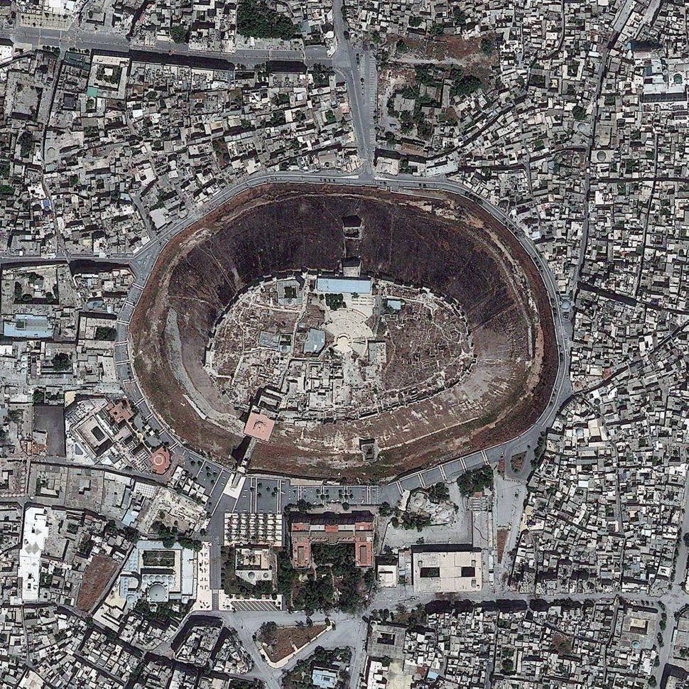 This is a satellite image of The Citadel, Aleppo, Syria, collected on May 26, 2013. (Photo DigitalGlobe via Getty Images)