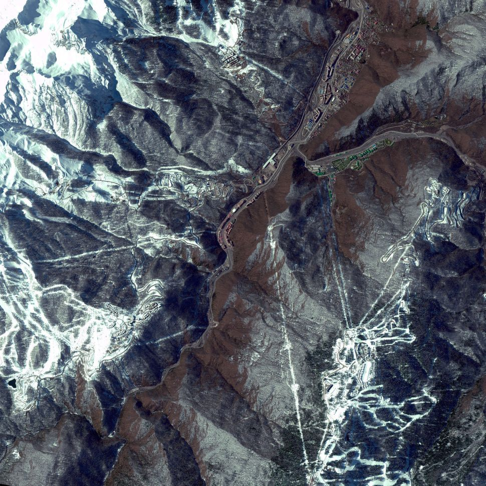 This is a satellite image of the 2014 Winter Olympics mountain venues, Sochi, Russia, collected on March 17, 2013. (Photo Dig
