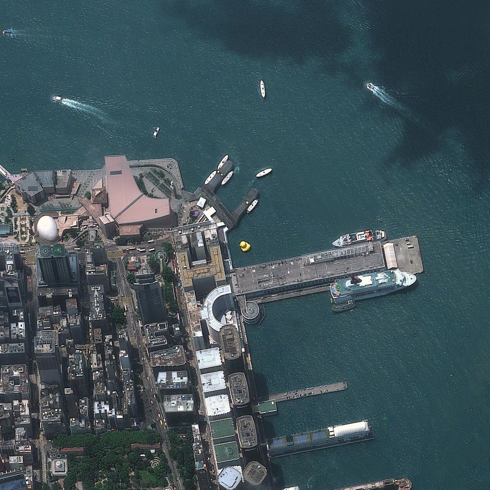 This is a satellite image of a Giant Rubber Duck, Hong Kong, China, collected on May 9, 2013. (Photo DigitalGlobe via Getty I