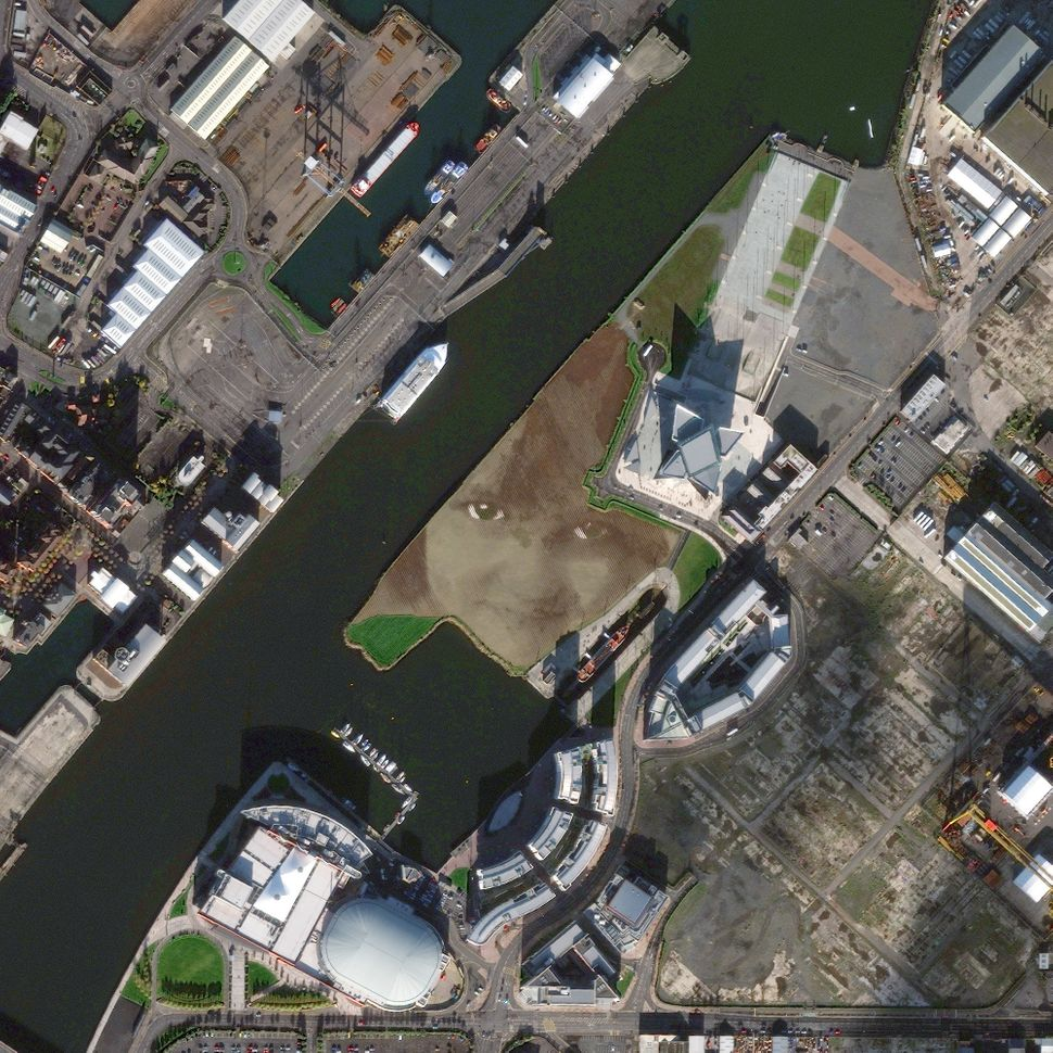 This is a satellite image of Face Art, Belfast, Northern Ireland, United Kingdom, collected on Nov. 3, 2013. (Photo DigitalGl
