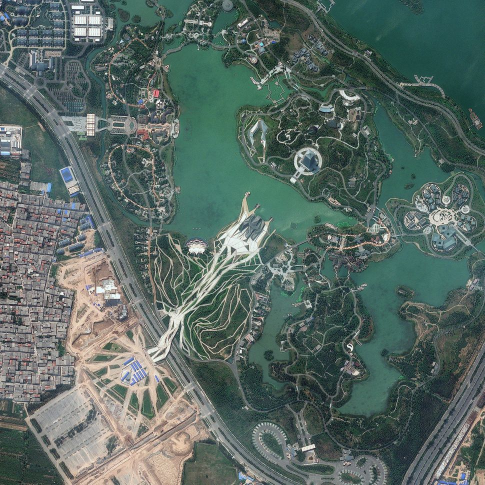 This is a satellite image of Shiyuan Park, Xian, China, collected on Sept. 24, 2013. (Photo DigitalGlobe via Getty Images)