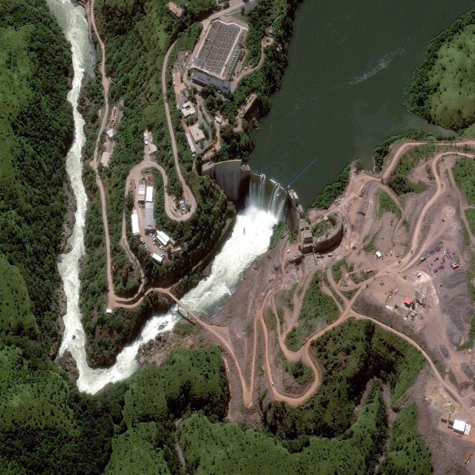 This is a satellite image of the Cambambe Dam on the Cuanza River, Angola, collected on April 28, 2013. (Photo DigitalGlobe v