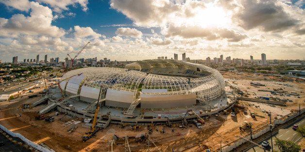 NATAL, BRAZIL - NOVEMBER 14: An aerial view of  Estadio das Dunas on November 14, 2013 in Natal, Brazil.  (Photo by Buda Mend