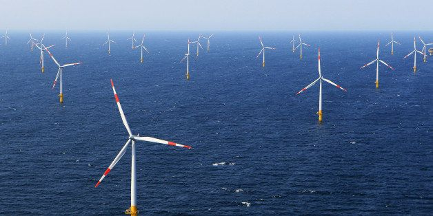 ZINGST, GERMANY - APRIL 29:  Wind turbines stand in the Baltic 1 offshore wind farm on April 29, 2011 in the Baltic Sea near